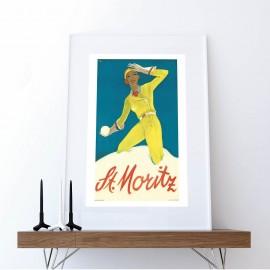 Foto Frau in gelben Skianzug